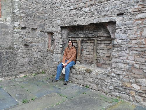 The singer songwriter resting at Denbigh castle